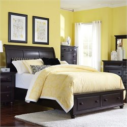 Broyhill Farnsworth Sleigh Bed w/ Storage Footboard in Inky Black - Queen