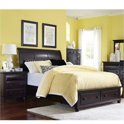 Broyhill Farnsworth Storage Sleigh Bed 2 Pc Bedroom Set in Inky Black