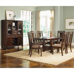 Broyhill Northern Lights 7 Piece Dining Table Set in Dark Walnut