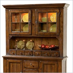 Broyhill Attic Heirlooms China Door Hutch in Rustic Oak