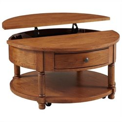 Broyhill Attic Heirlooms Round Lift Top Cocktail Table in Oak