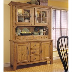 Broyhill Attic Heirlooms Wood China Cabinet and Hutch in Natural Oak