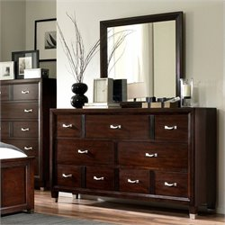 Broyhill Eastlake Dresser and Mirror in Brown Cherry
