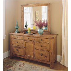 Broyhill Attic Heirlooms Dresser and Mirror in Oak
