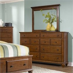 Broyhill Hayden Place Dresser and Mirror in Light Cherry