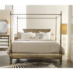 Hooker Furniture Melange Montage King Canopy Poster Bed in Gold