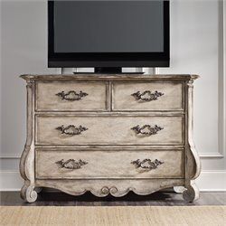 Hooker Chatelet 4 Drawer Media Chest in Distressed Vintage White