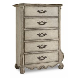 Hooker Chatelet 5 Drawer Chest in Distressed Vintage White