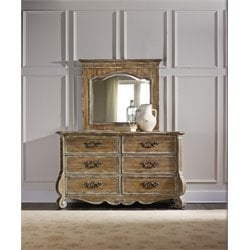 Hooker Chatelet 6 Drawer Dresser with Mirror in Caramel Froth