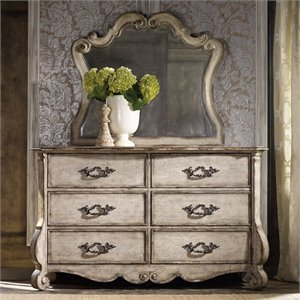 Hooker Furniture Chatelet 6 Drawer Dresser with Mirror in Vintage White