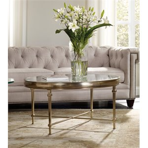 Hooker Furniture Highland Park Round Glass Top Coffee Table in Gold