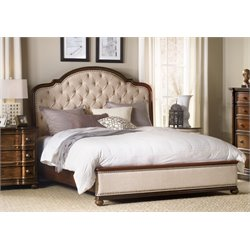 Hooker Leesburg Upholstered Bed with Wood Rails in Mahogany