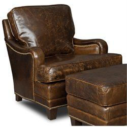 Hooker Furniture Covington Parish Leather Club Chair in Dark Wood