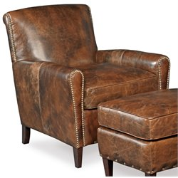 Hooker Furniture Imperial Empire Leather Club Chair in Natchez Brown