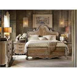 Hooker Furniture Chatelet 3 Piece King Wood Panel Bed Set in Light Wood