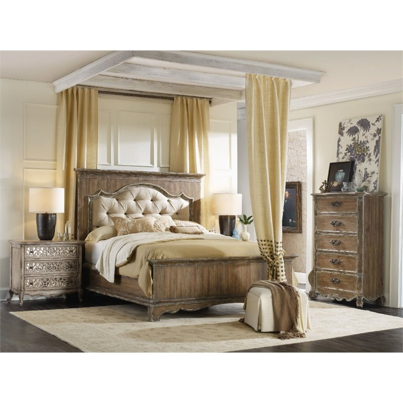 Hooker Furniture Chatelet 3 Piece Queen Upholstered Panel Bedroom Set in  Light Wood