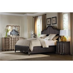 Hooker Furniture Corsica 4 Piece Panel Bedroom Set in Dark Wood