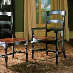 Hooker Furniture Indigo CreekArm Dining Chair in Rub-Through Black
