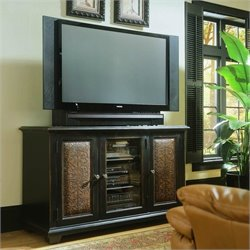 Hooker Furniture Telluride Plasma Console in Black w/ Leather Panels