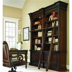 Hooker Furniture European Renaissance II Double Bookcase with Ladder and Rail