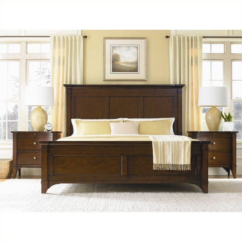 Hooker Furniture Abbott Place Panel Bed in Warm Cherry Finish