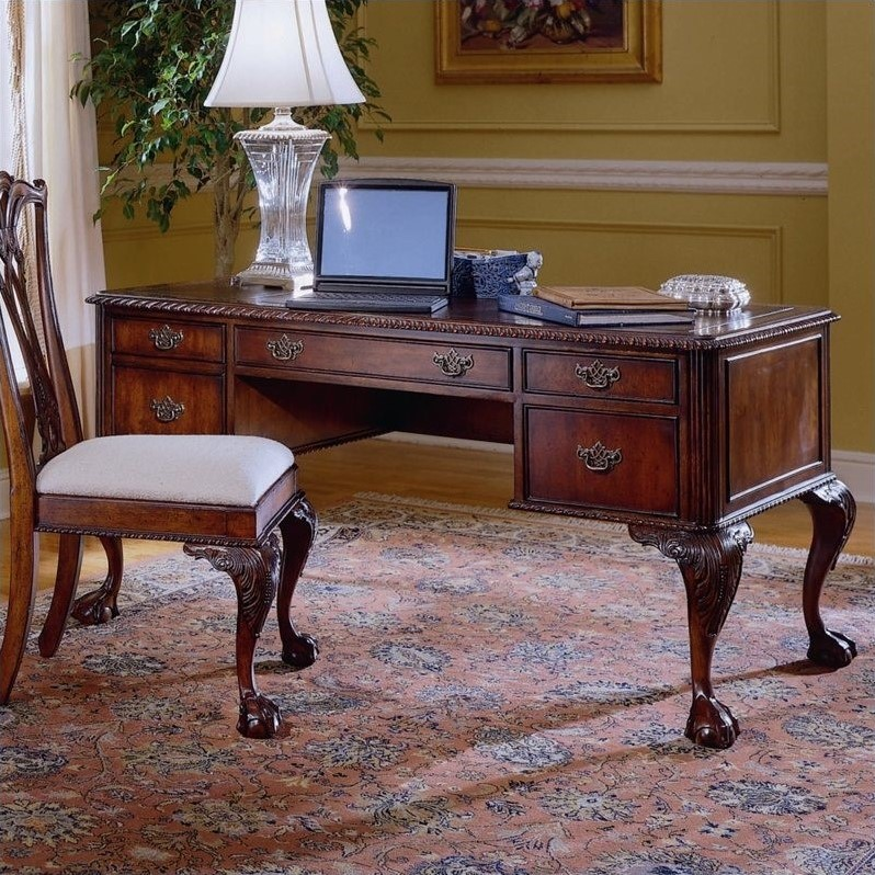 Hooker Furniture Ball and Claw Computer Desk in Dark Cherry