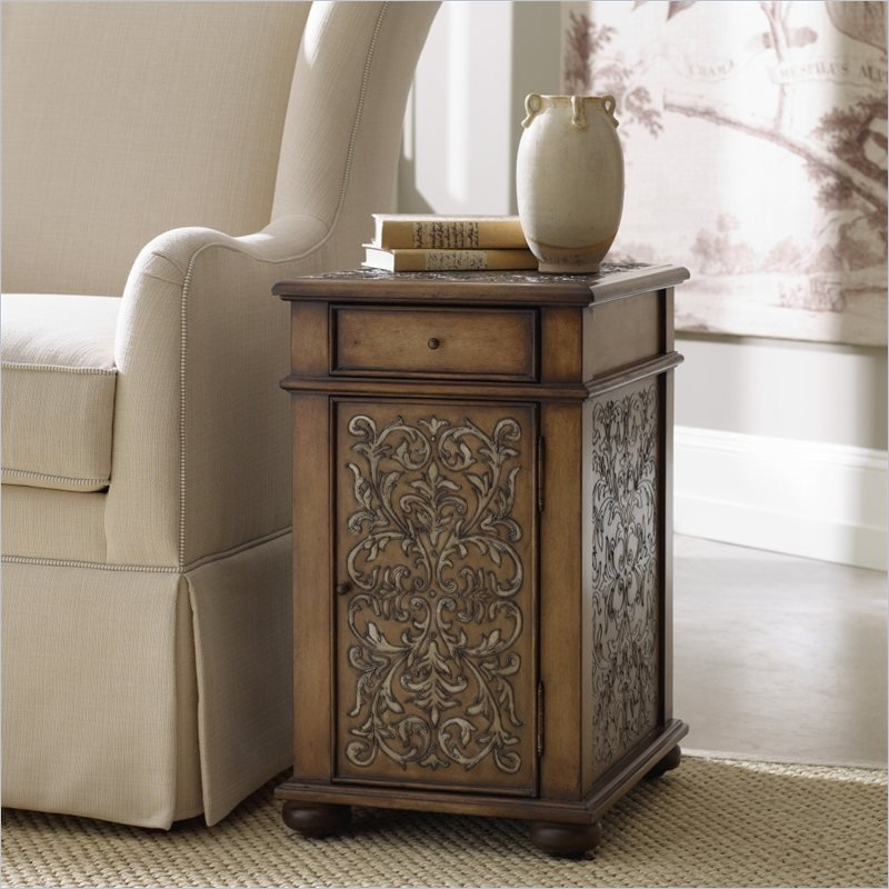 Seven Seas Embossed Design Accent Chairside Table