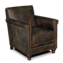 Hooker Furniture Seven Seas Leather Club Chair in Old Saddle Fudge