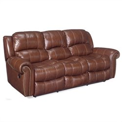 Hooker Furniture Seven Seas Sofa with 2 Recliners in Cognac