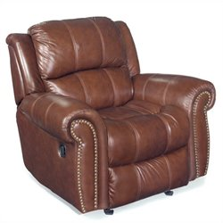 Hooker Furniture Seven Seas Leather Glider Recliner Chair in Cognac