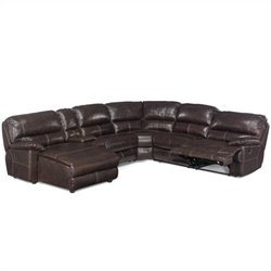 Hooker Furniture Seven Seas 6 Piece Leather Sectional in Espresso