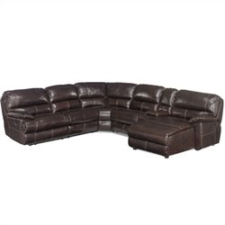 Hooker Furniture Seven Seas 6 Piece Right Chaise Sectional in Espresso
