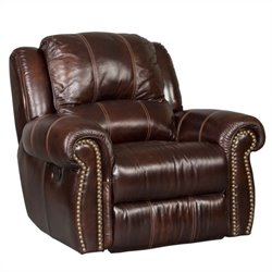 Hooker Furniture Seven Seas Leather Glider Recliner in Saddle Brown