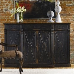 Hooker Furniture Sanctuary 4-Door 3-Drawer Credenza in Ebony and Drift