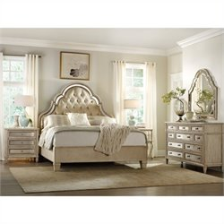 Hooker Furniture Sanctuary 4 Piece Bed Bedroom Set in Pearl Essence