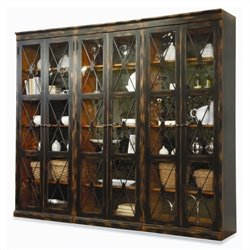 Hooker Furniture Sanctuary 3 Piece Display Cabinet Set in Ebony