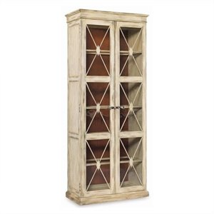 Hooker Furniture Sanctuary Two Door Thin Display Cabinet in Dune