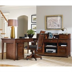Hooker Furniture Wendover Computer Credenza 5 Piece Set in Cherry