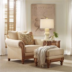 Hooker Furniture Windward Upholstered Chair with Ottoman in Honey