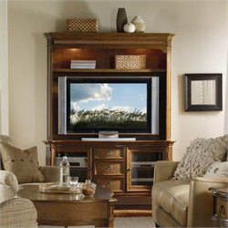Hooker Furniture Windward 62in TV Console with Hutch in Brown Cherry