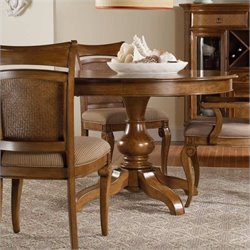 Hooker Furniture Windward Pedestal Dining Table with Leaf Light Brown Cherry