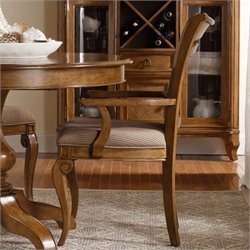 Hooker Furniture Windward Raffia Dining Arm Chair in Light Brown Cherry