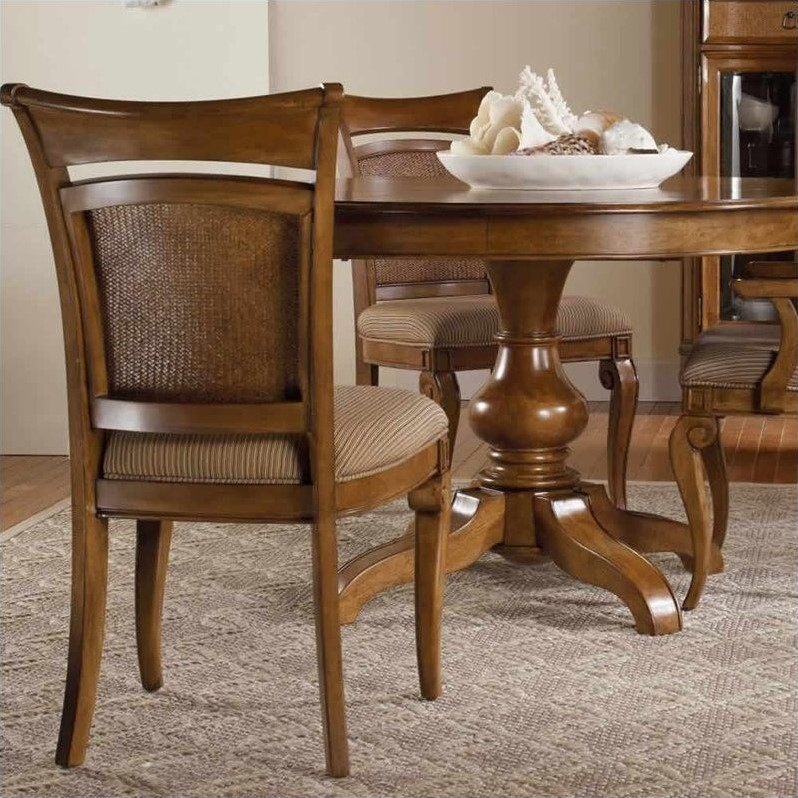 Hooker Furniture Windward Raffia Dining Chair in Light Brown Cherry