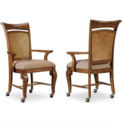 Hooker Furniture Windward Castered Arm Dining Chair in Light Brown Cherry