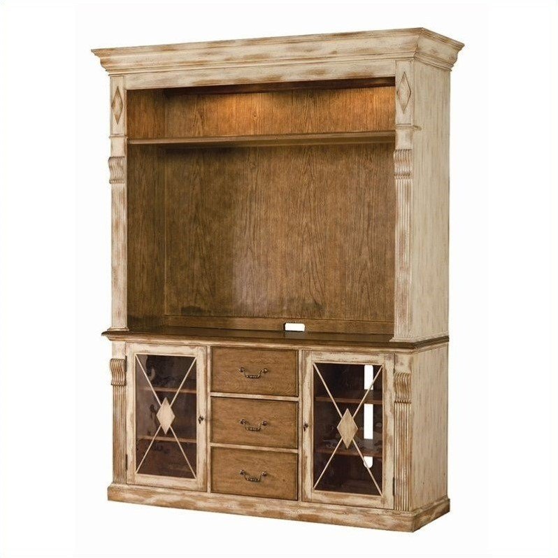 Hooker Furniture Sanctuary Entertainment Console with Hutch in Dune and Beach
