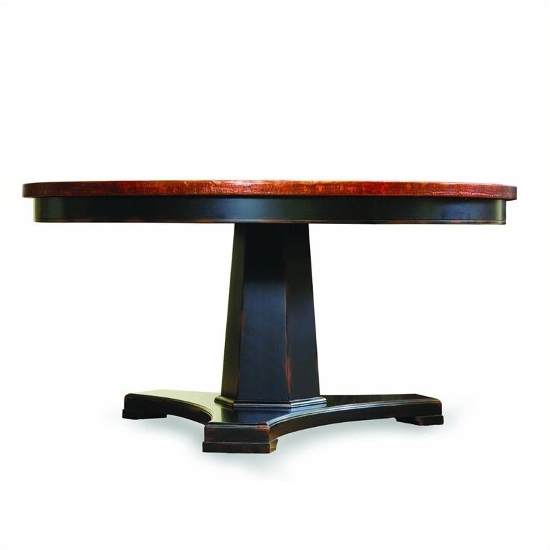Sanctuary 60in Round Pedestal Dining Table in Ebony