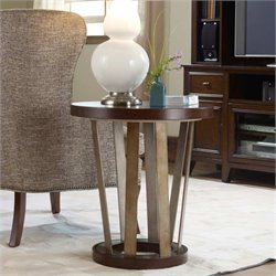 Hooker Furniture Lorimer Round End Table in Warm Brown