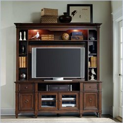 Hooker Furniture Riley Entertainment Console with Hutch in Medium Brown