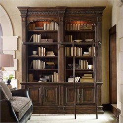 Hooker Furniture Adagio Double Bookcase with Ladder and Rail