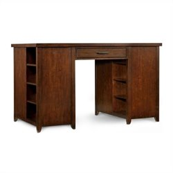 Hooker Furniture Wendover Two Bookcase Pedestal Utility Desk in Distressed Cherry